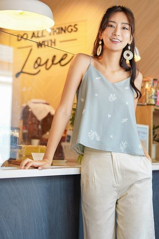 HOLLY  2-WAY REVERSIBLE  BOTANICAL TOP #MADEBYLOVET (SAGE)