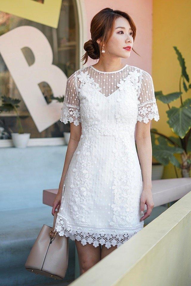 ADENA DOTTED CROCHET PANEL DRESS #MONGXLOVET (WHITE) *RESTOCKED*
