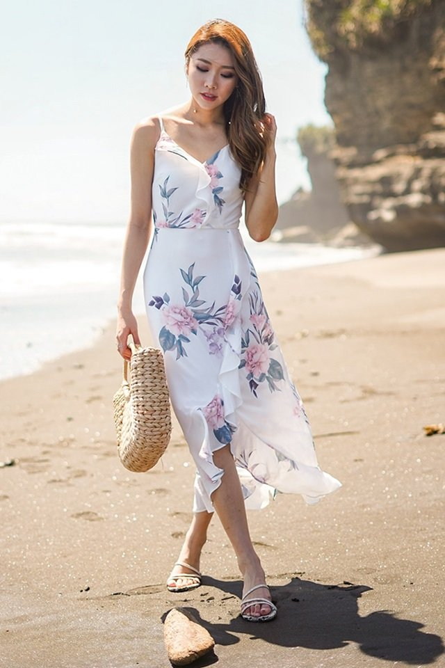 CADIE FLORAL RUFFLES ASYMMETRICAL DRESS #MONGXLOVET (WHITE) *RESTOCKED*