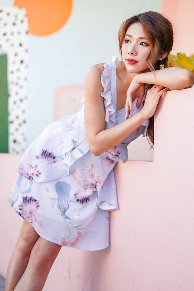 ELEA FLORAL RUFFLES DRESS  #MONGXLOVET (LILAC) *RESTOCKED*