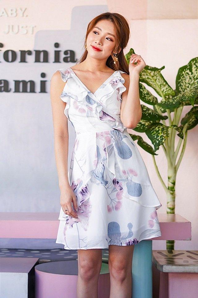 ELEA FLORAL RUFFLES DRESS  #MONGXLOVET (WHITE) *RESTOCKED*