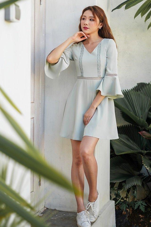LISELLA EYELET BELL SLEEVE DRESS #MONGXLOVET (MINT) *RESTOCKED*