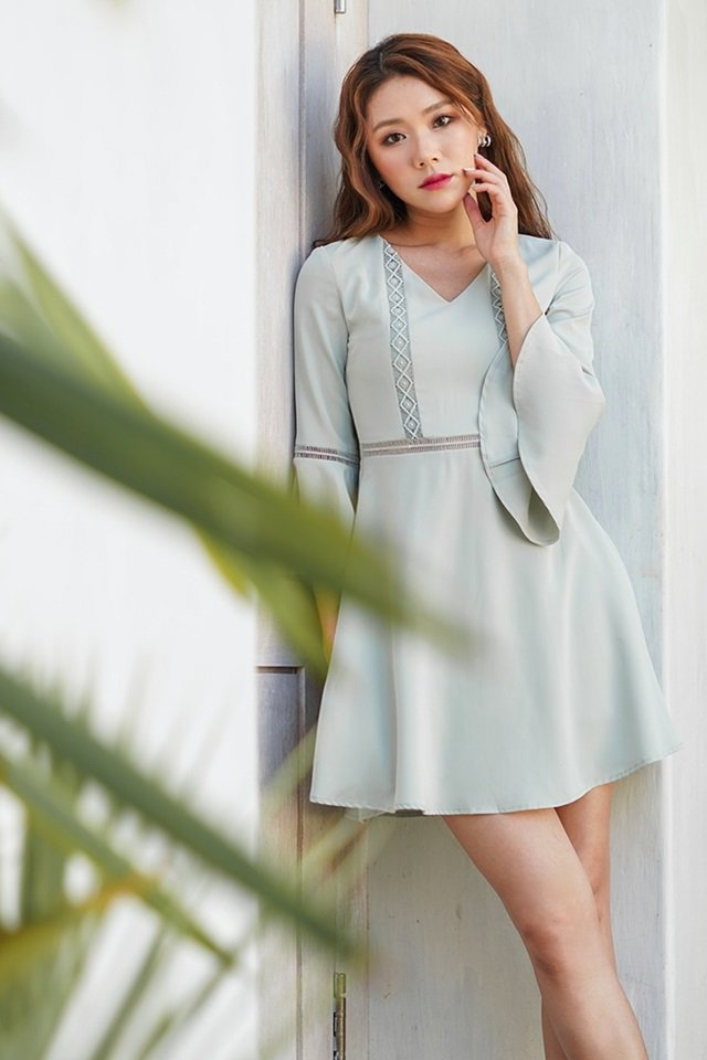 LISELLA EYELET BELL SLEEVE DRESS #MONGXLOVET (MINT) *RESTOCKED*