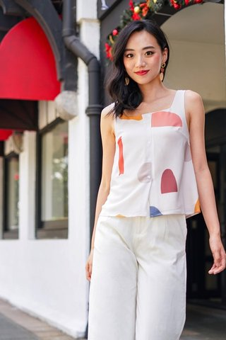 ANDREA ABSTRACT PRINT TOP #MADEBYLOVET (SAND)