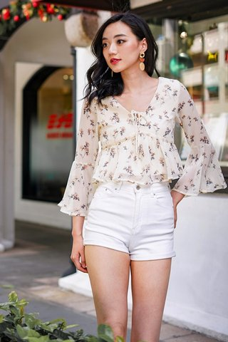CARIS FLORAL BABYDOLL BELL SLEEVE TOP #MADEBYLOVET (CREAM)