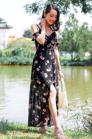 CASSIDY FLORAL DROP-SHOULDER MAXI SLIT DRESS #MADEBYLOVET (BLACK)