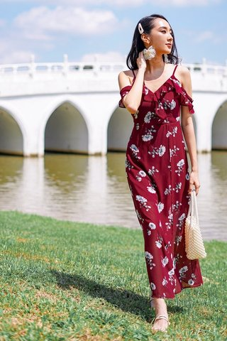 CASSIDY FLORAL DROP-SHOULDER MAXI SLIT DRESS #MADEBYLOVET (WINE)