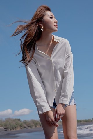 JOLIE LINEN SHELL BUTTON SLOUCHY SHIRT #MONGXLOVET (WHITE) *BACKORDER*