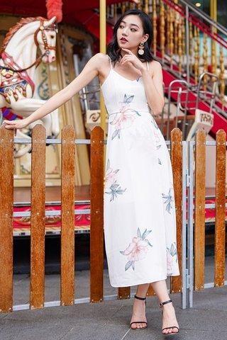 JULIETTE FLORAL MAXI SLIT DRESS #MADEBYLOVET (WHITE)