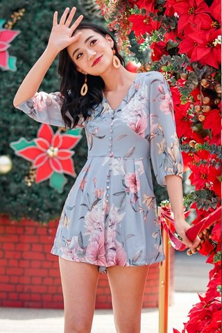 KENDRA SLEEVE FLORAL BUTTON ROMPER #MADEBYLOVET (DUSTY BLUE)