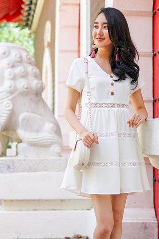 MEREDITH BABYDOLL BUTTON EYELET DRESS #MADEBYLOVET (WHITE)