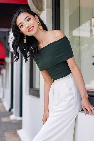 VERA RIBBED KNIT OFF-SHOULDER TOP #MADEBYLOVET (FOREST GREEN)