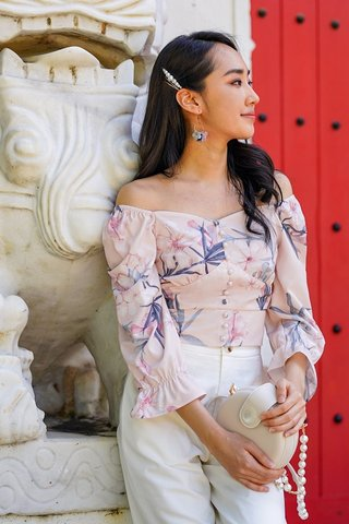 WISTERIA 2-WAY FLORAL BUTTON TOP #MADEBYLOVET (BLUSH)