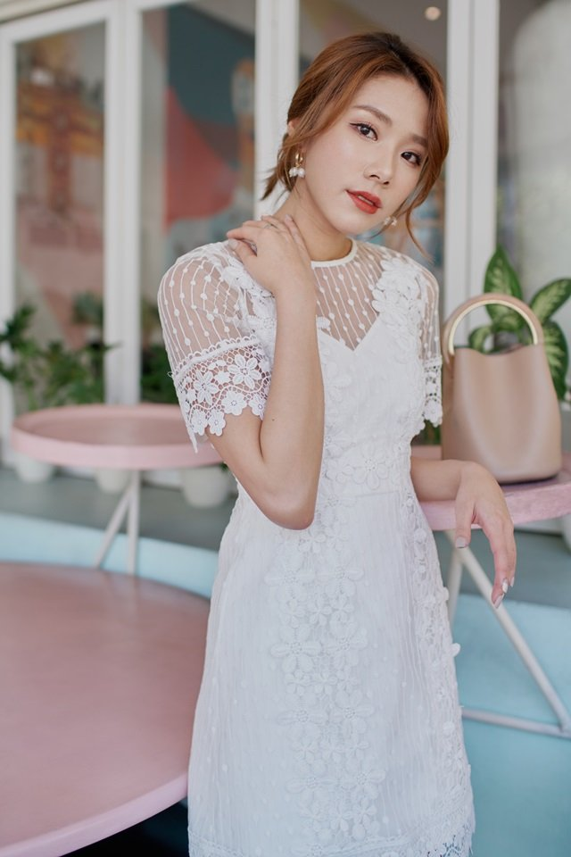 ADENA DOTTED CROCHET PANEL DRESS #MONGXLOVET (WHITE) *RESTOCKED*