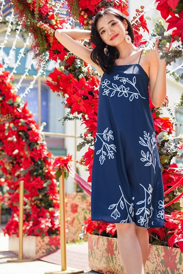 KRISTA ABSTRACT FLORAL TIE-STRING MIDI DRESS #MADEBYLOVET (NAVY)