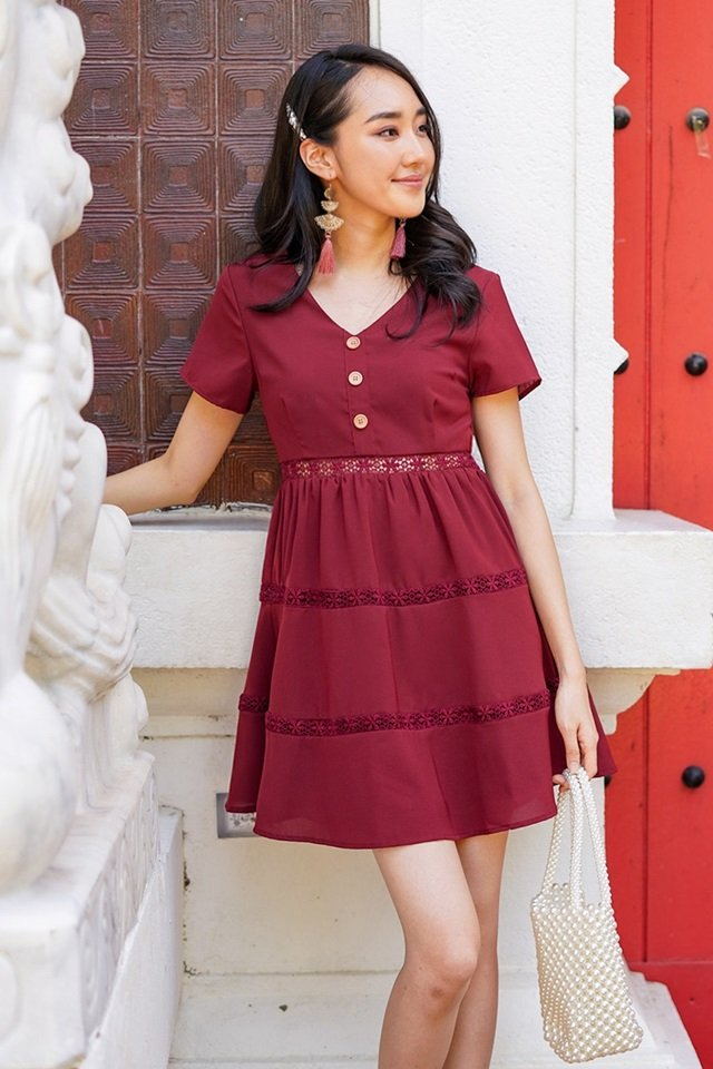 MEREDITH BABYDOLL BUTTON EYELET DRESS #MADEBYLOVET (WINE)