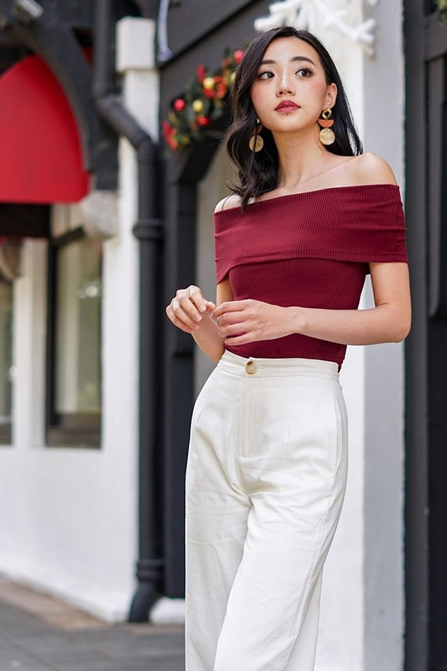 VERA RIBBED KNIT OFF-SHOULDER TOP #MADEBYLOVET (WINE)