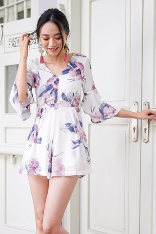 ALANNA FLORAL BELL SLEEVE BUTTON ROMPER #MADEBYLOVET (WHITE) *RESTOCKED*