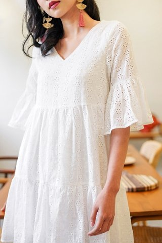 AVIE BABYDOLL BELL SLEEVE EYELET DRESS #MADEBYLOVET (WHITE)