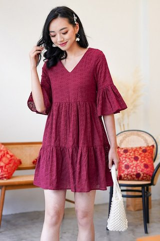 AVIE BABYDOLL BELL SLEEVE EYELET DRESS #MADEBYLOVET (WINE)