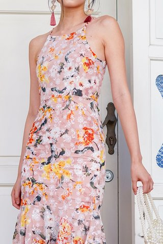 CHRISTELLA BODYCON FLORAL EYELET DROPWAIST DRESS #MADEBYLOVET  (BLUSH)