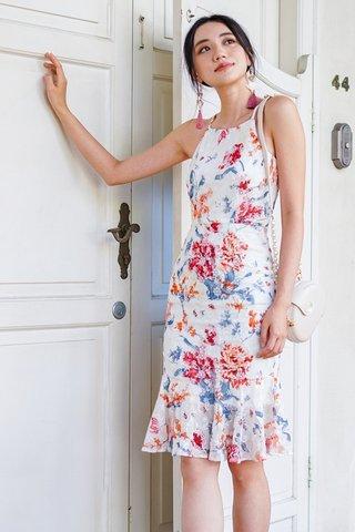 CHRISTELLA BODYCON FLORAL EYELET DROPWAIST DRESS #MADEBYLOVET (WHITE)