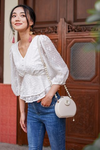 DAFFODIL SWISS DOT EMBROIDERY BUTTON TOP #MADEBYLOVET (WHITE) *BACKORDER*