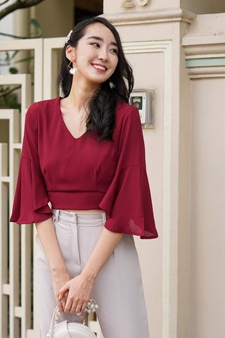 ESME BASIC BELL SLEEVE TOP #MADEBYLOVET (WINE)