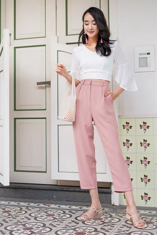 GEORGIA HIGH WAIST TAPERED PANTS #MADEBYLOVET (SALMON PINK)