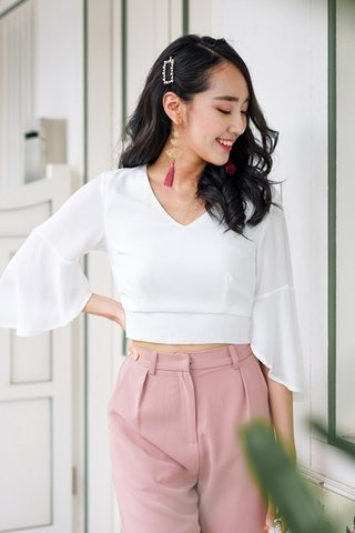 ESME BASIC BELL SLEEVE TOP #MADEBYLOVET (WHITE)