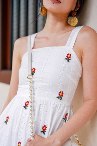 KERLISE EYELET EMBROIDERY DROPWAIST MIDI DRESS #MADEBYLOVET (WHITE)