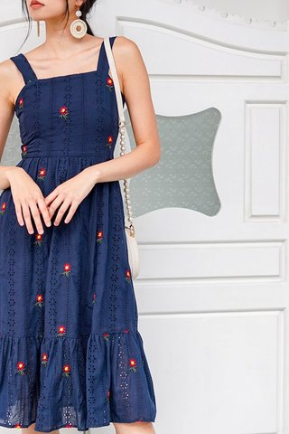 KERLISE EYELET EMBROIDERY DROPWAIST MIDI DRESS #MADEBYLOVET (NAVY)