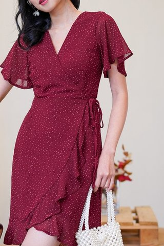 LARELLE POLKA DOT ASYMMETRICAL TIE-STRING WRAP DRESS #MADEBYLOVET (WINE) *BACKORDER*