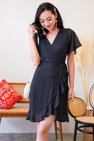 LARELLE POLKA DOT ASYMMETRICAL TIE-STRING WRAP DRESS #MADEBYLOVET (BLACK)