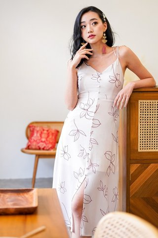 LOVETO FLORAL ABSTRACT TIE-STRING MIDI DRESS #MADEBYLOVET (BUTTERMILK)