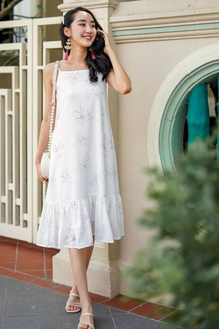LUCIA FLORAL DROP WAIST MIDI RUFFLE DRESS #MADEBYLOVET (WHITE)