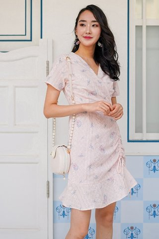 MIKA FLORAL EYELET WRAP SCRUNCH DRESS #MADEBYLOVET (BLUSH)