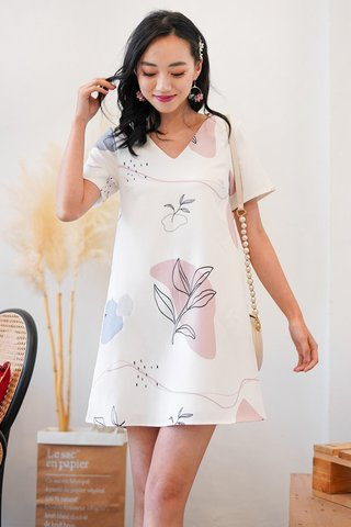 TATUM DOODLE ABSTRACT SHIFT DRESS #MADEBYLOVET (WHITE)