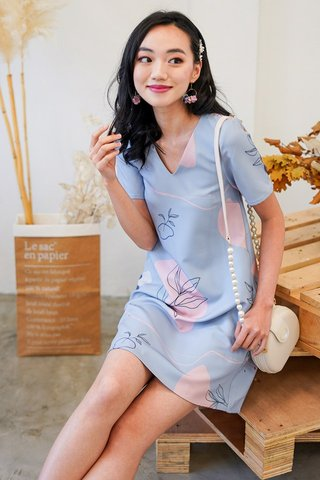TATUM DOODLE ABSTRACT SHIFT DRESS #MADEBYLOVET (DUSTY BLUE)