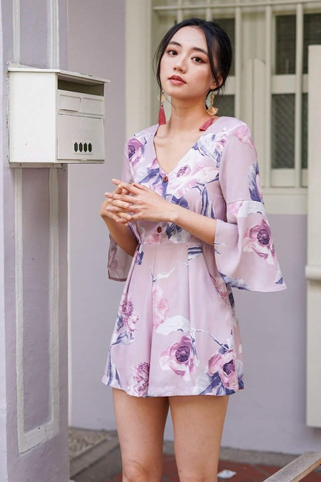 ALANNA FLORAL BELL SLEEVE BUTTON ROMPER #MADEBYLOVET (TAUPE PINK) *RESTOCKED*