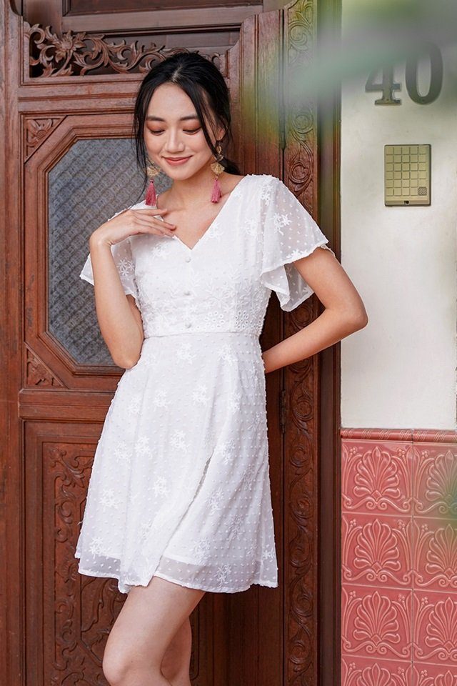 ALLURA SWISS DOT EMBROIDERY BUTTON DRESS #MADEBYLOVET (WHITE) *RESTOCKED*