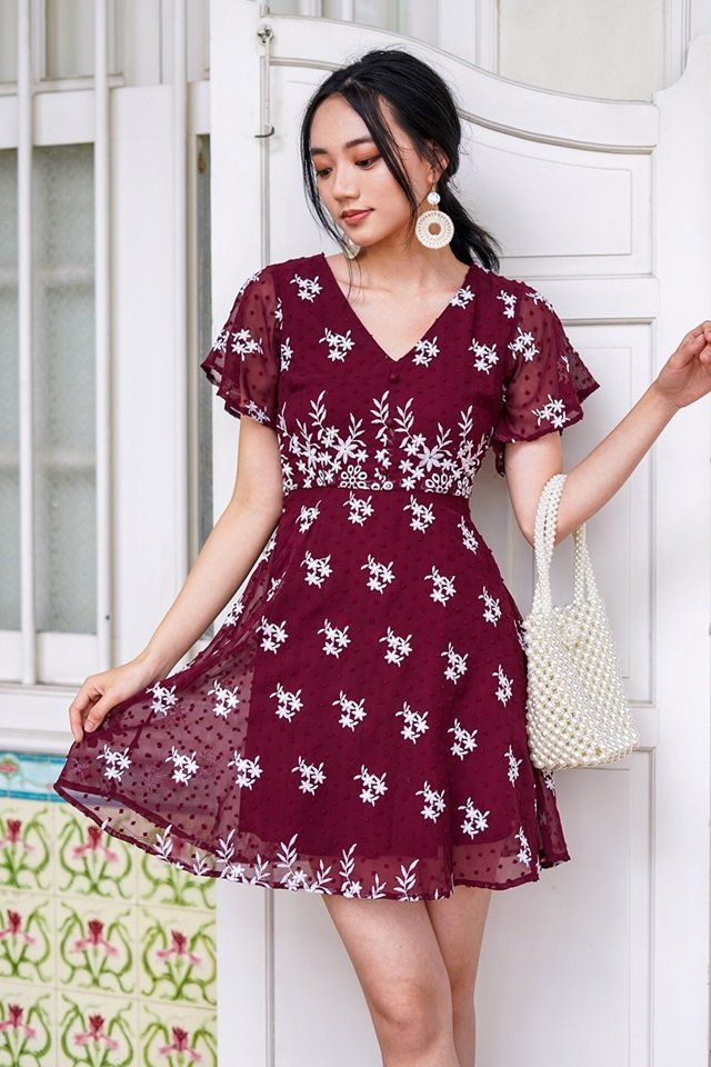 ALLURA SWISS DOT EMBROIDERY BUTTON DRESS #MADEBYLOVET (WINE)