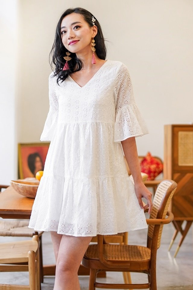 AVIE BABYDOLL BELL SLEEVE EYELET DRESS #MADEBYLOVET (WHITE)