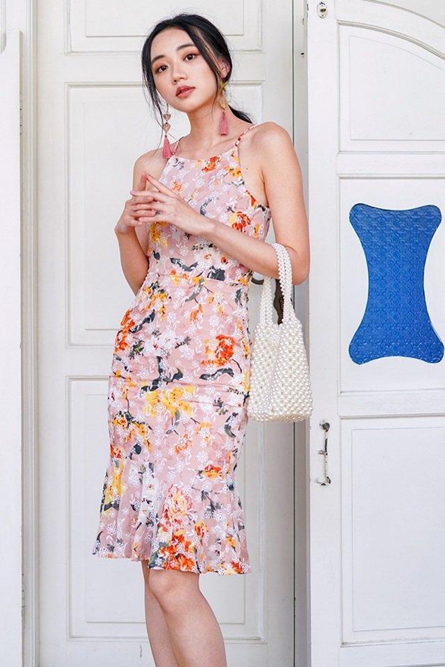 CHRISTELLA BODYCON FLORAL EYELET DROPWAIST DRESS #MADEBYLOVET  (BLUSH)
