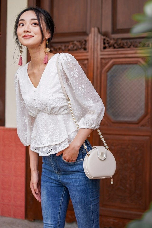 DAFFODIL SWISS DOT EMBROIDERY BUTTON TOP #MADEBYLOVET (WHITE) *RESTOCKED*