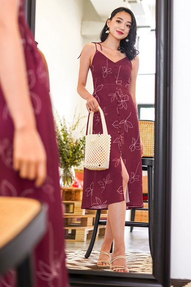 LOVETO FLORAL ABSTRACT TIE-STRING MIDI DRESS #MADEBYLOVET (WINE)
