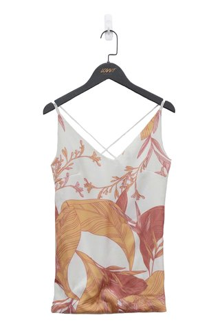 FAUNA FLORAL CROSS-BACK CAMI TOP (WHITE)