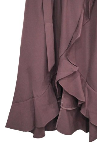 MAUREEN TOGA RUFFLES DRESS WITH SASH (BURGUNDY)