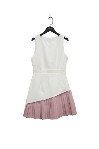 BLAIRE DUO COLOURBLOCK PLEATED DRESS (WHITE)