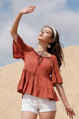 ACACIA LINEN TIER BABYDOLL SLEEVE TOP #MADEBYLOVET  (RUST)